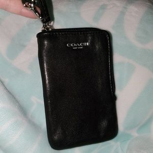 COACH Black 🖤 Leather Wristlet ID/CARD Holder